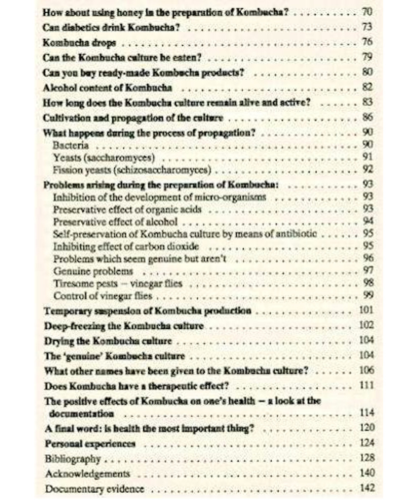 Kombucha Table of Contents  1