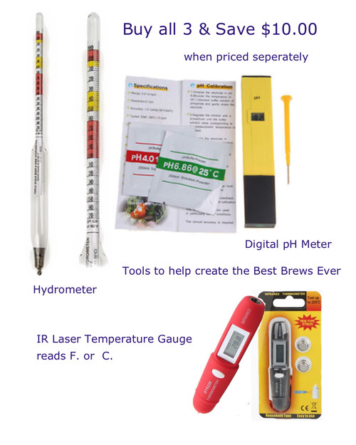 Buy Hydrometer, pH Digital Meter and IR Laser Temperature guage at the best price Buy all 3 and save $10