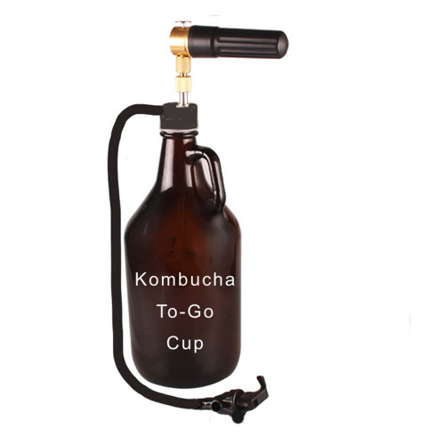 Kombucha To-Go. 64 oz Glass Growler Tap . Unique Mini-keg easy to use, easy to carry. Uses standard CO2 threaded cartridges. No More Flat Brew