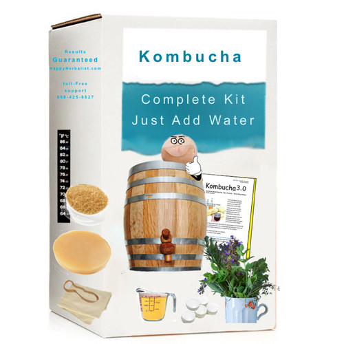 Complete Oak Barrel Kombucha Brewing System. Just Add Water. From 5 Liter to 13 Gallon. Your choice of SCOBY, and choice of spigots.