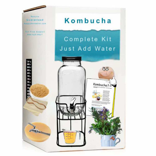 Complete 1 Gallon Glass  Kombucha Starter kit  with Dispenser and Stand.