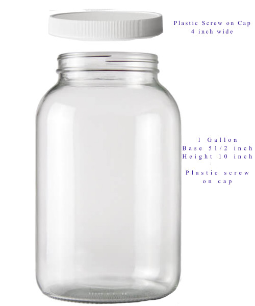 4 One Gallon Glass Jars with Plastic Lids includes Shipping