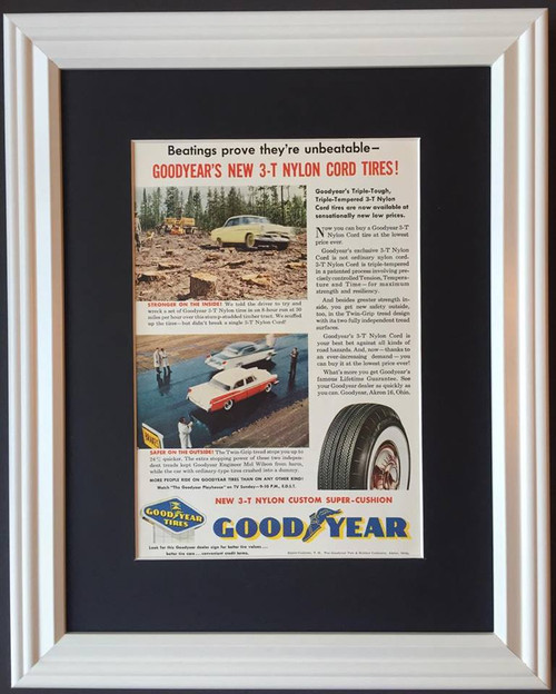 1957 57 Good Year Tire & Rubber Vintage Ad - 3-T Nylon Cord Tires White Wall  Tire, tires, rubber, wheel, wheels, radial, radials, white, wall, walls, whitewall, whitewalls, poly, polyester, polyesters, fiberglass, black, snow, steel, belted, nylon