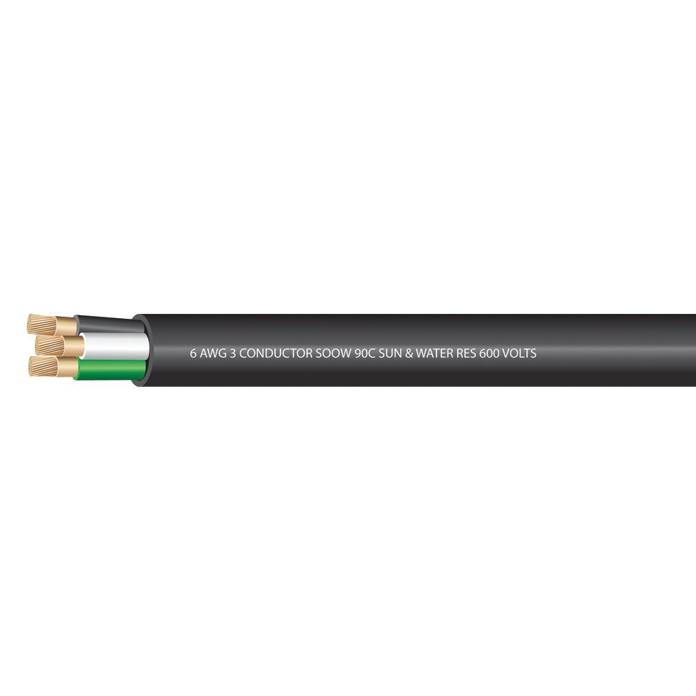 6 AWG 3 conductors SOOW Portable Cord 600 Volts -40C +90C Hard Usage (Non-UL) - (SELECT FEET BELOW)