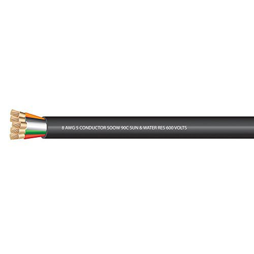 8 AWG 5 conductors SOOW Portable Cord 600 Volts -40C +90C Hard Usage (Non-UL) - (SELECT FEET BELOW)