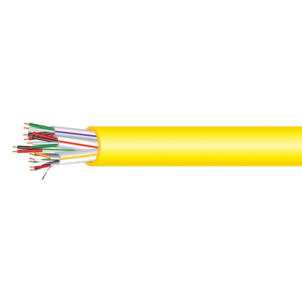 Electronic Lock Access Composite Control Cable - Plenum Rated - Yellow PVC Jacket - 500 Feet