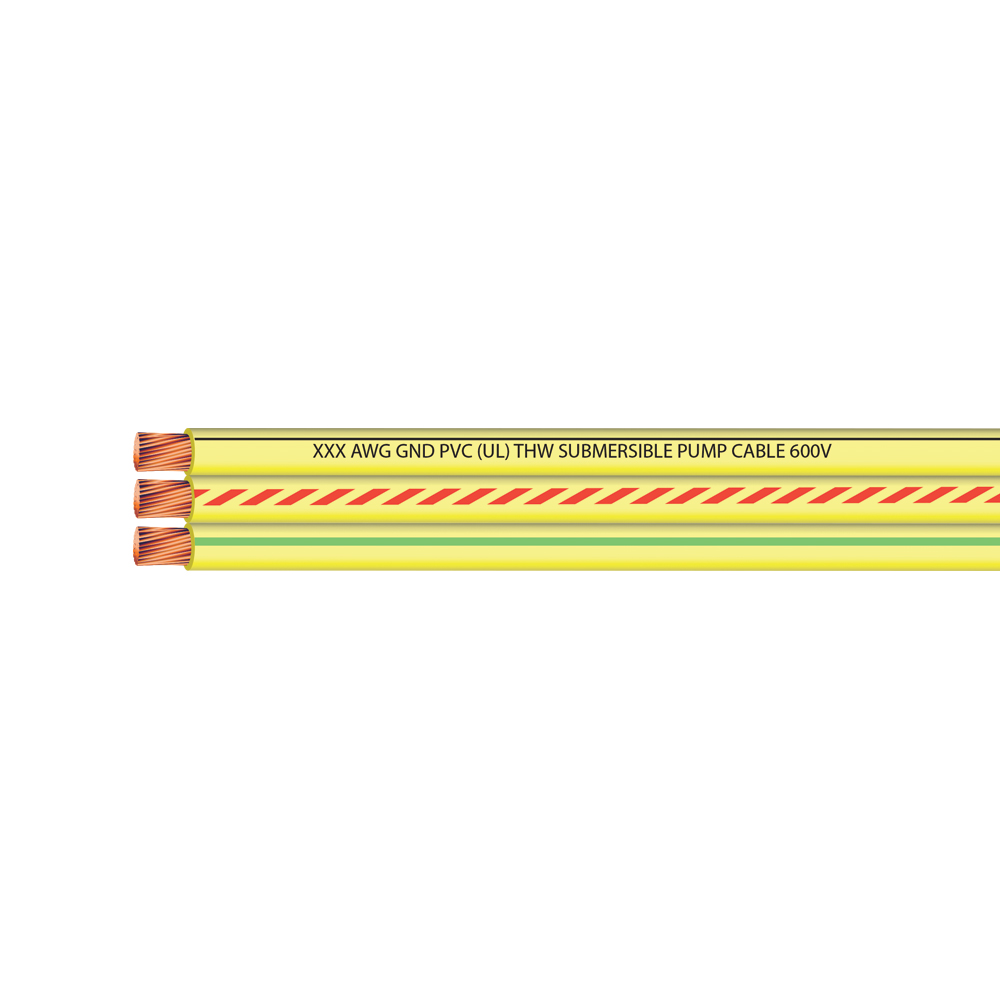 12 AWG 2 CONDUCTOR + GROUND FLAT YELLOW SUB PUMP 600 VOLTS