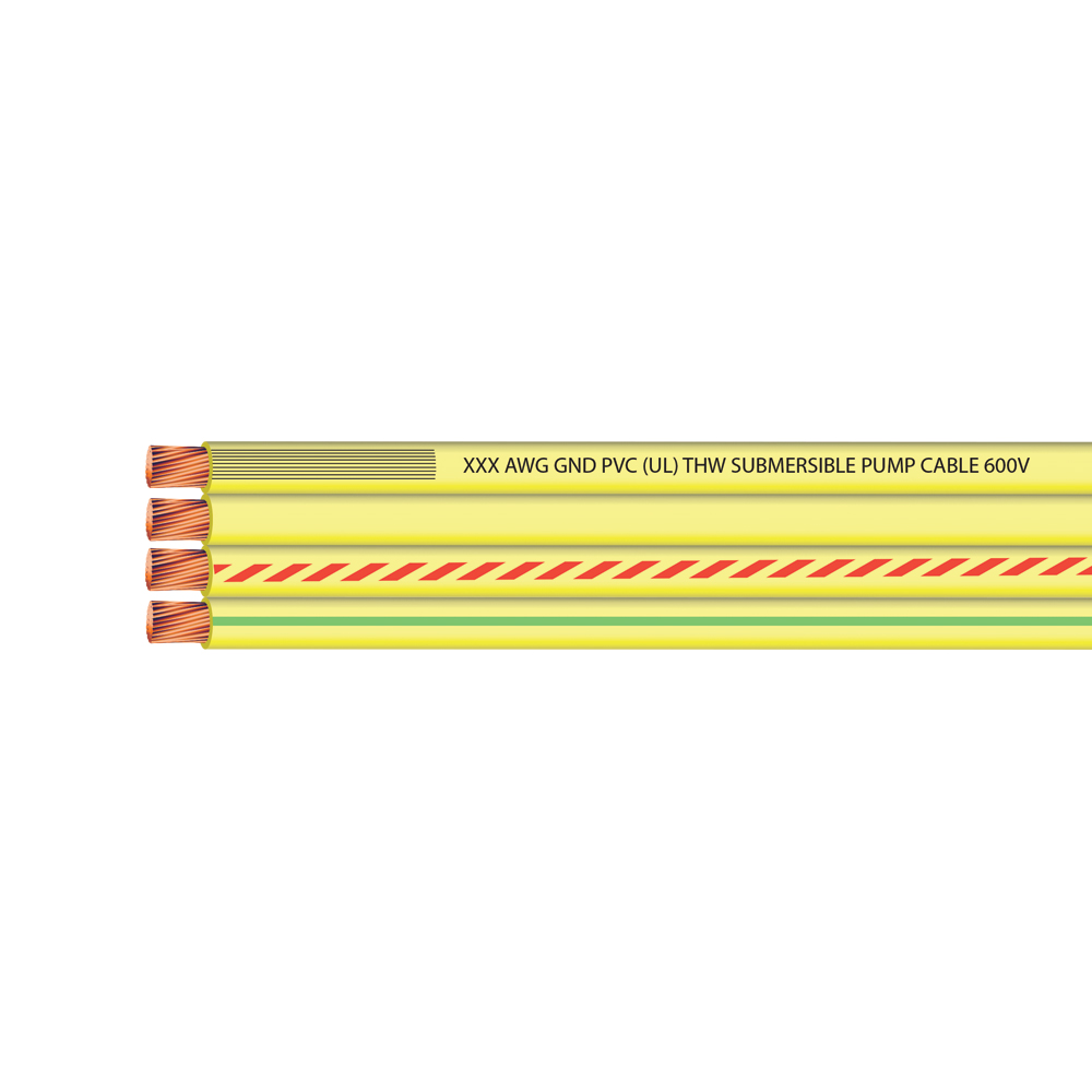 8 AWG 3 CONDUCTOR + GROUND FLAT YELLOW SUB PUMP 600 VOLTS