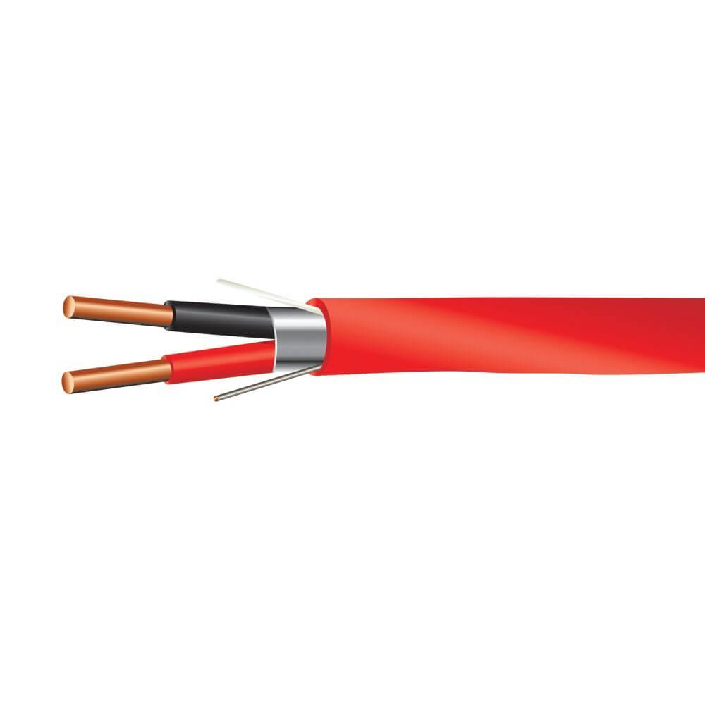 16 AWG 2/C Solid FPLP Plenum Rated Shielded Fire Alarm Cable Red ...