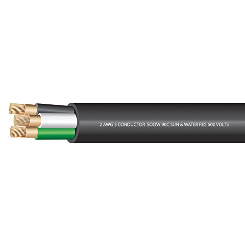 2 AWG 3 conductors SOOW Portable Cord 600 Volts -40C +90C Hard Usage (Non-UL) - (SELECT FEET BELOW)