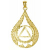 1 Style #833-3,14k Gold Pendant, AA Circle Triangle w/3 Hearts set in a Filigree Style Tear Drop