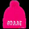 """""""ODAAT"""" Neon Pink Pom Pom Knit Cap"""