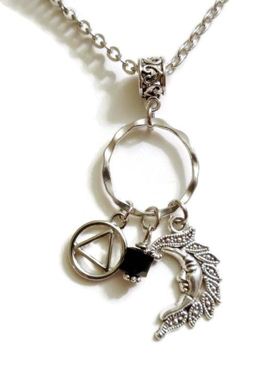 Moon charm holder necklace alcoholics anonymous doing it sober moon charm holder necklace alcoholics anonymous aloadofball Images