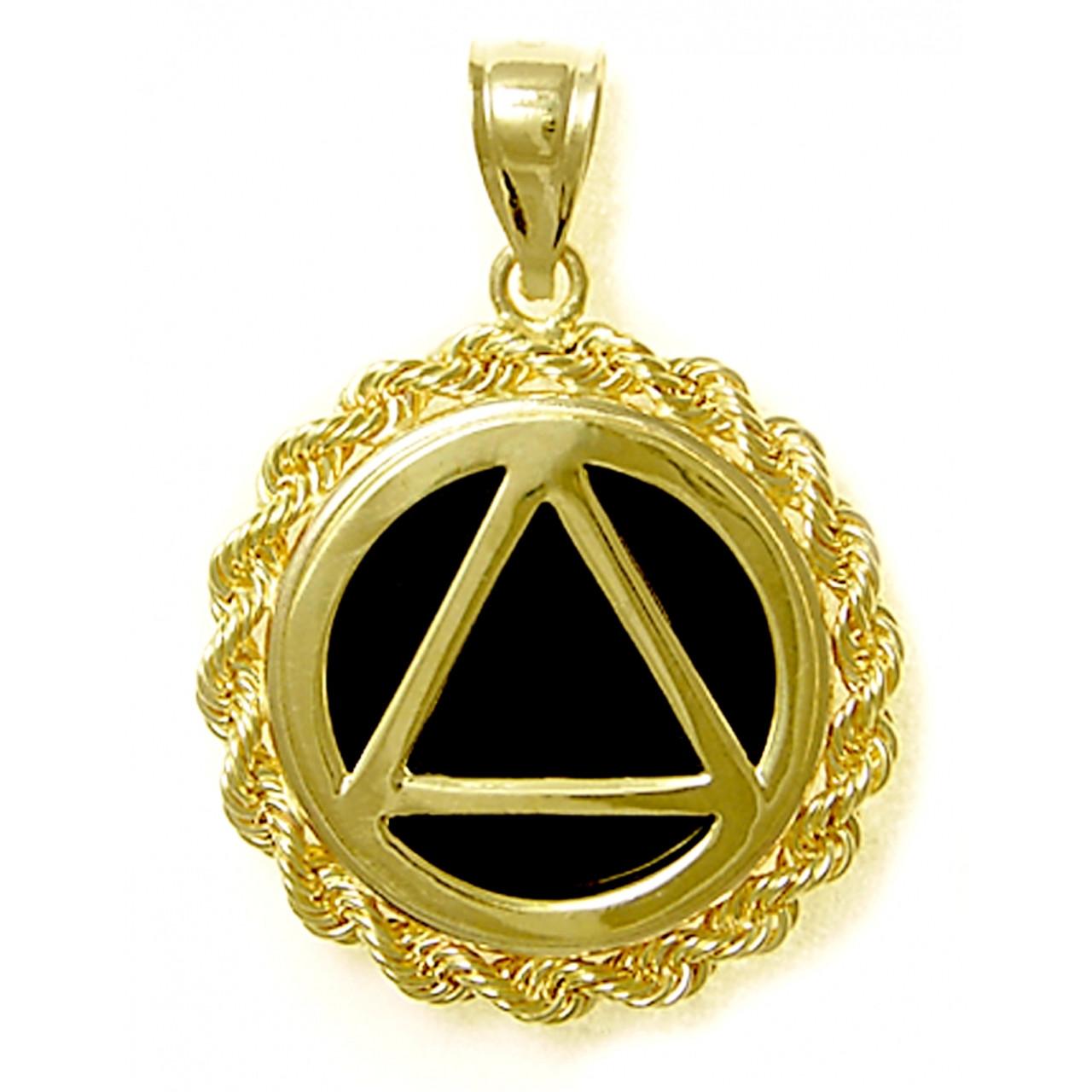 Style 1029 14k Gold Aa Symbol In Rope Style Circle Wblack Onyx