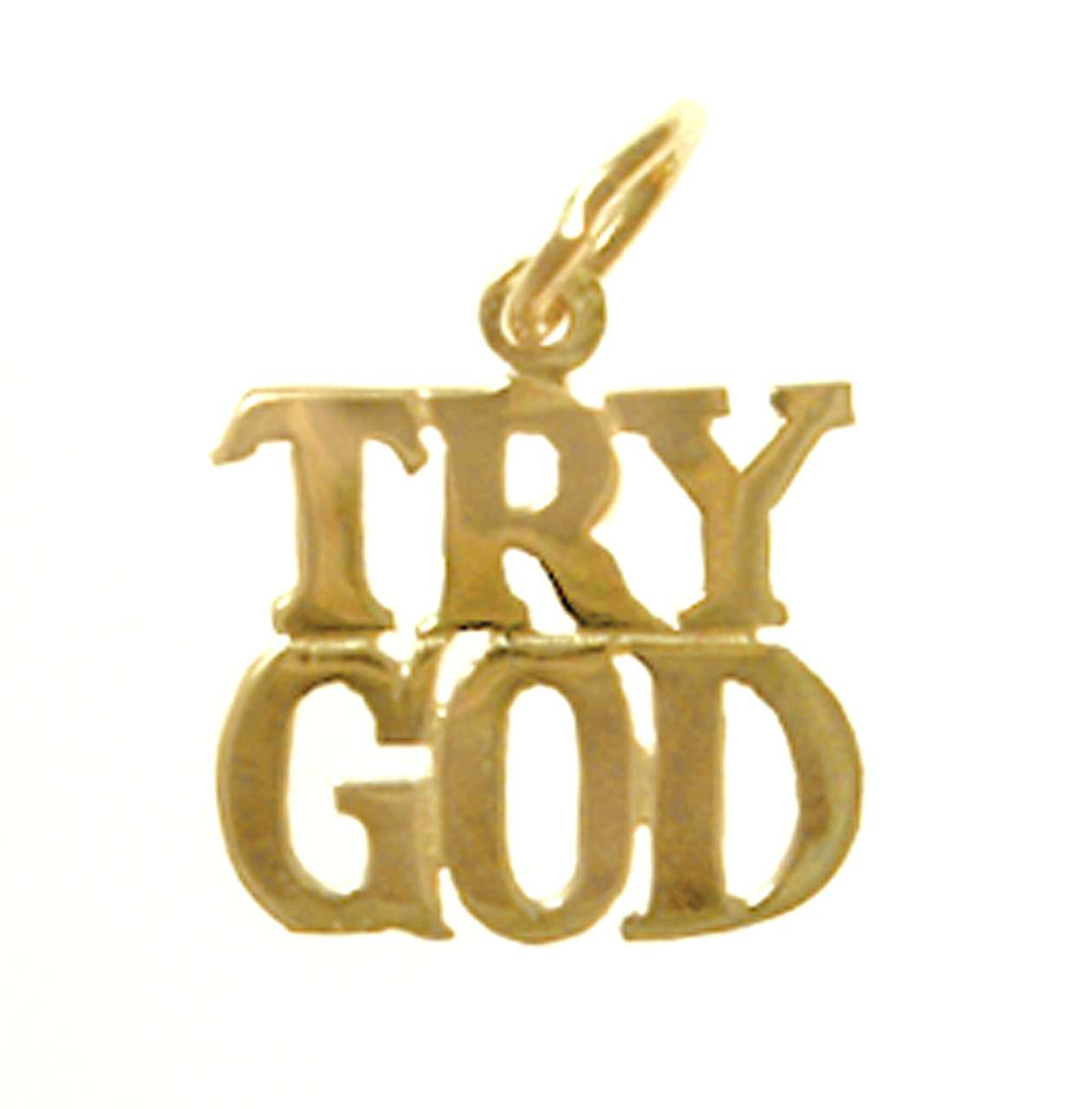 Style 178 15 14k Gold Sayings Pendant Quot Try God