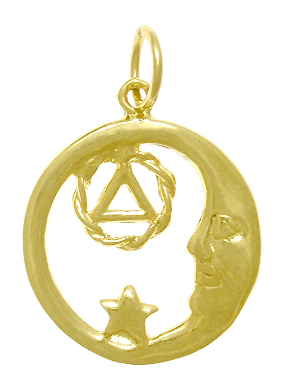 Style 399 3 14k Gold Moon And Star Pendant With Aa Symbol Medium