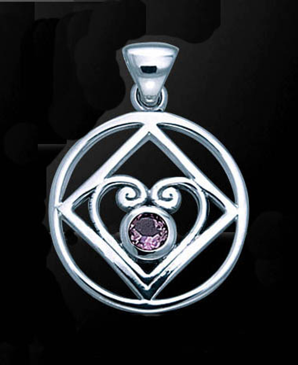 Sterling silver heart of power pendant narcotics anonymous doing sterling silver heart of power mozeypictures Image collections