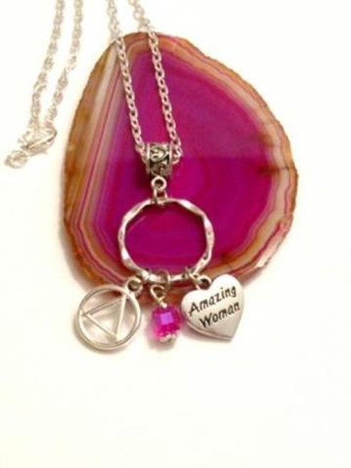 SOLD OUT Amazing Woman Charm Holder Necklace Alcoholics Anonymous - Pink