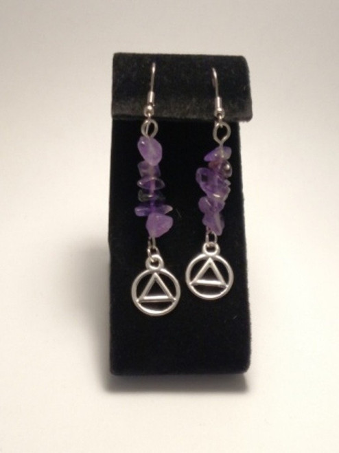 AA Amethyst Earrings With Silver Tone Charms