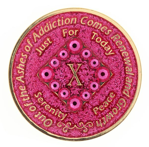 NA PK Bling Glitter Pink Coin (Yrs 1-40).