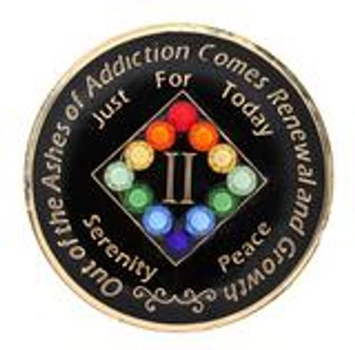 Swarovski LGBT Bling Rainbow Black Coin (Yrs 1-40).