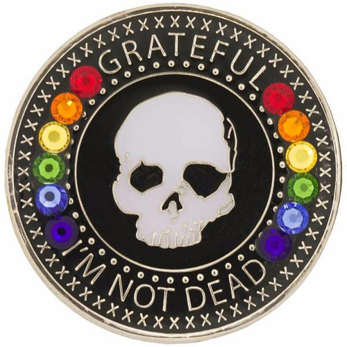 Grateful I'm Not Dead Medallion w Swarovski Rainbow Crystals