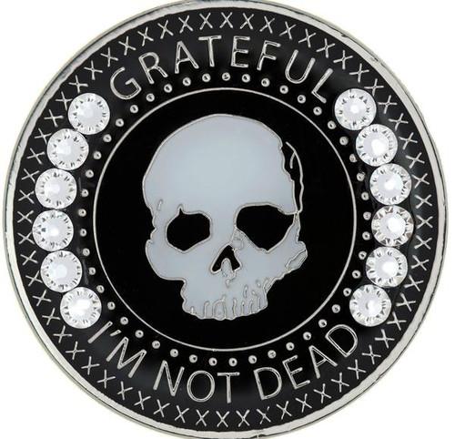 Grateful I'm Not Dead Medallion w Swarovski White Crystals