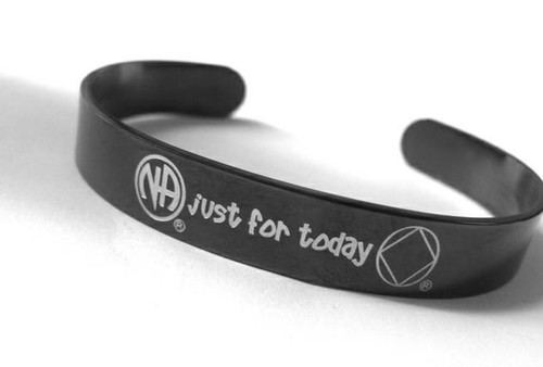 Just For Today Narcotics Anonymous Stainless Steel Cuff Bracelet