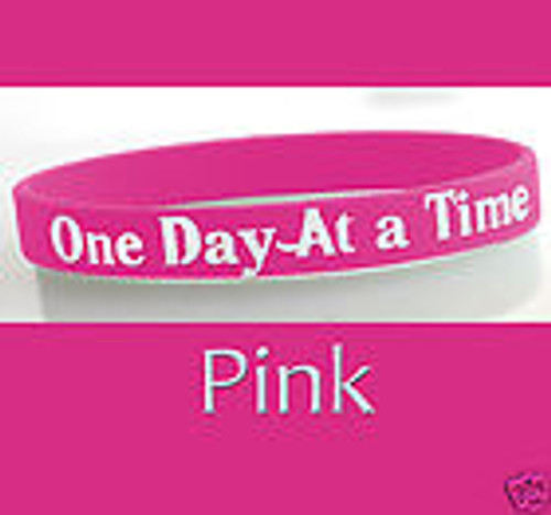 Pink BRACELET - One Day At A Time AA Alcoholics  Anonymous Plastic Wristband