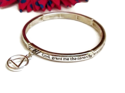 Serenity Prayer Metal Stretch Bracelet with AA Charm