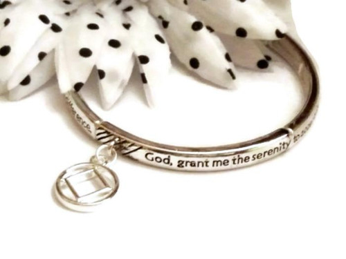 SOLD OUT  Serenity Prayer Metal Stretch Bracelet with NA Charm