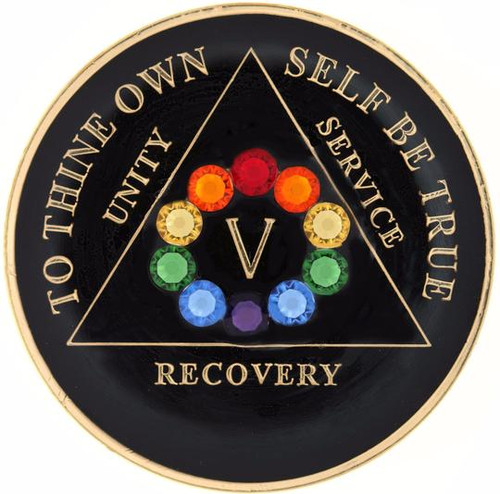 AA  Bling w LGBT Crystal Circle on Black Medallion (Years 1-50)