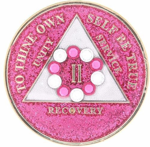 AA Bling w Pk/Wh Crystal Circle on Glitter Pink Medallion (Yrs 1-50)