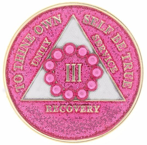 AA Bling w Pk Crystal Circle on Glitter Pink Medallion (Yrs 1-50)