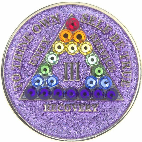 AA  Bling w LGBT Crystal Triangle on Glitter Lavender Coin (Yrs 1-50)