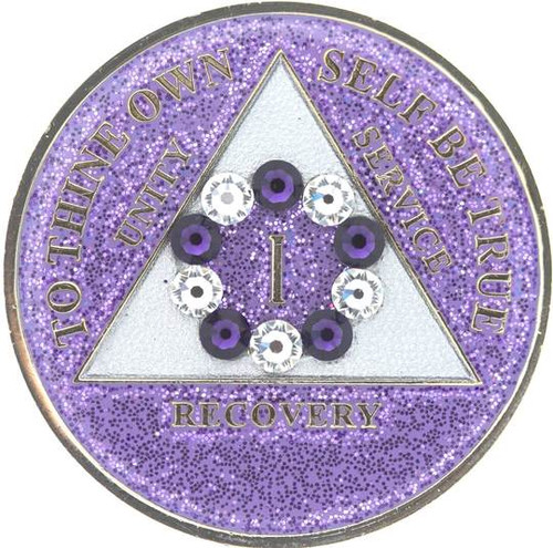 AA  Bling w Pr/Wh Crystal Circle on Glitter Lavender Coin (Yrs 1-50)