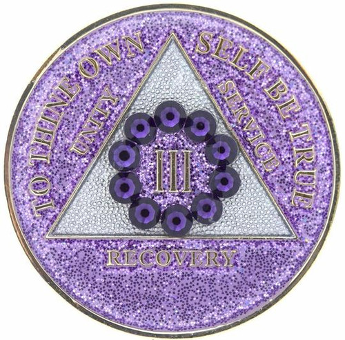 AA Bling w Purple Crystal Circle on Glitter Lavender Coin (Yrs 1-50)