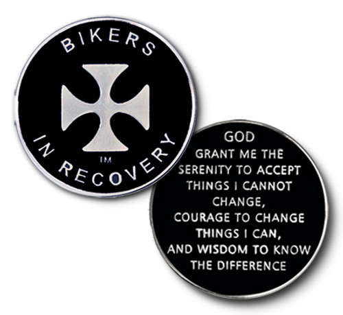 Bikers in recovery medallion coin for the motorcycle riders in sobriety.