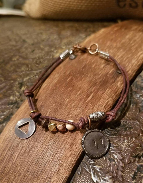 AA Alcoholics Anonymous Anniversary Charm Leather Bracelet - Mixed Metals