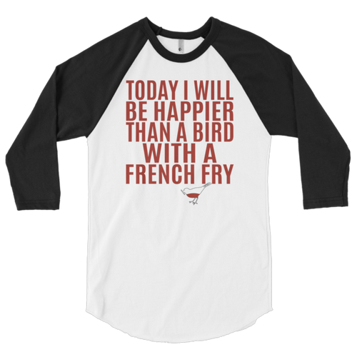 """Poetry Bandit """"Happy Birdie"""" Unisex 3/4 Sleeve Raglan Shirt"""