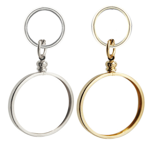 Silver or Gold Finish Key Chain Bezel for your recovery medallion or coin.