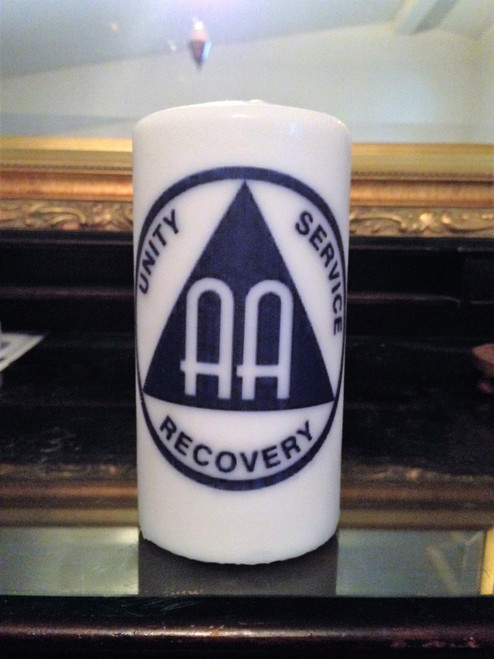 Blue AA Unity, Service, Recovery Medallion 3 x 6 AA Pillar Candle - Alcoholics Anonymous
