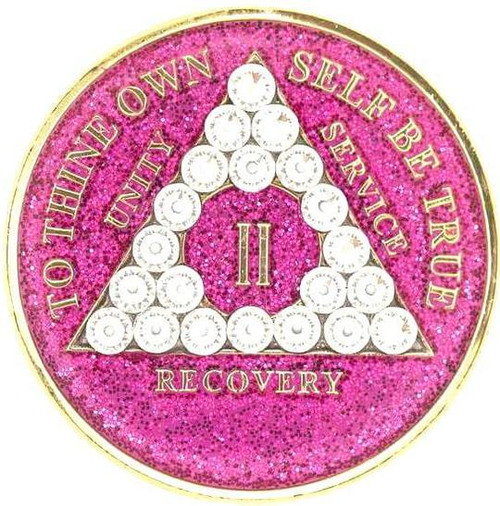 AA Glitter Pink Medallion w White Triangle Bling (Yrs 1-60, 24Hrs, Monthly)