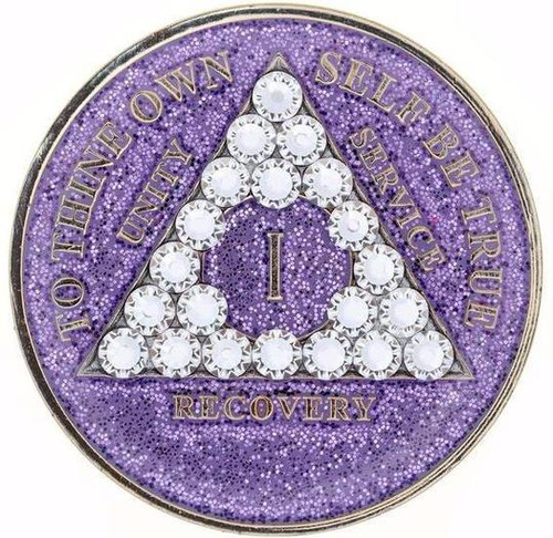AA Glitter Lavender Medallion w White Triangle Bling(Yrs 1-60, 24Hrs, Monthly)