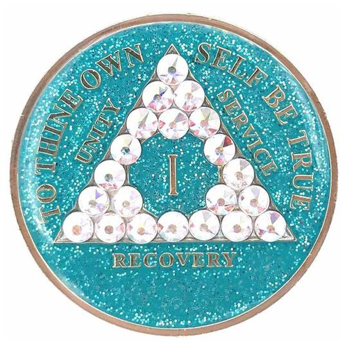 AA Glitter Turquoise Medallion w AB Triangle Bling (Years 1-50)