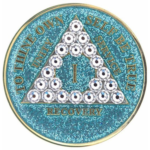 AA Glitter Turquoise Medallion W White Triangle Bling (Years 1-50)