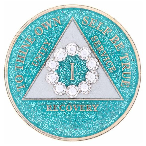 AA Glitter Turquoise Medallion w White Circle Bling (Years 1-50)
