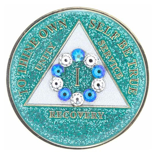 AA Glitter Turquoise Medallion w White/Turq Circle Bling (Years 1-50)