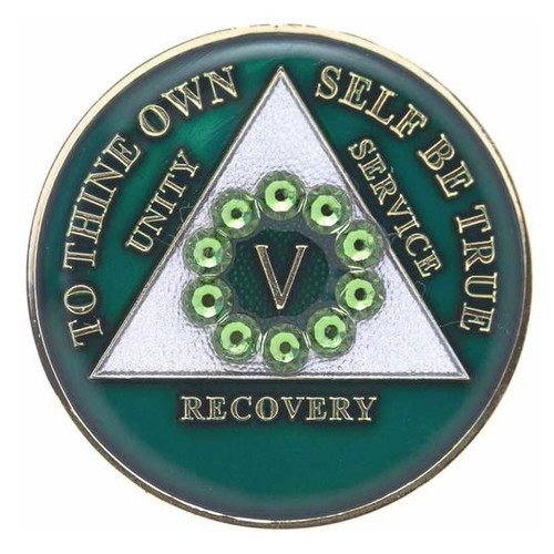 AA Green Medallion w Green Circle Bling (Years 1-60)