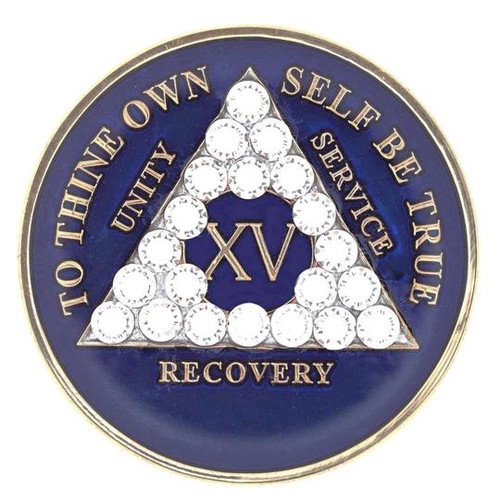 AA Blue Medallion w AB Triangle Bling (Years 1-60, 24HR, Monthly)